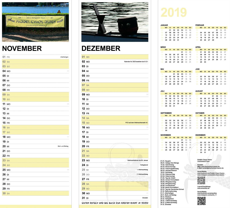Paddel-Chaos-Dueren Kalender 2019