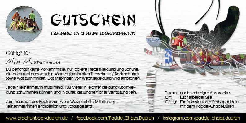 Gutschein Drachenboot-Training Paddel-Chaos-Dueren